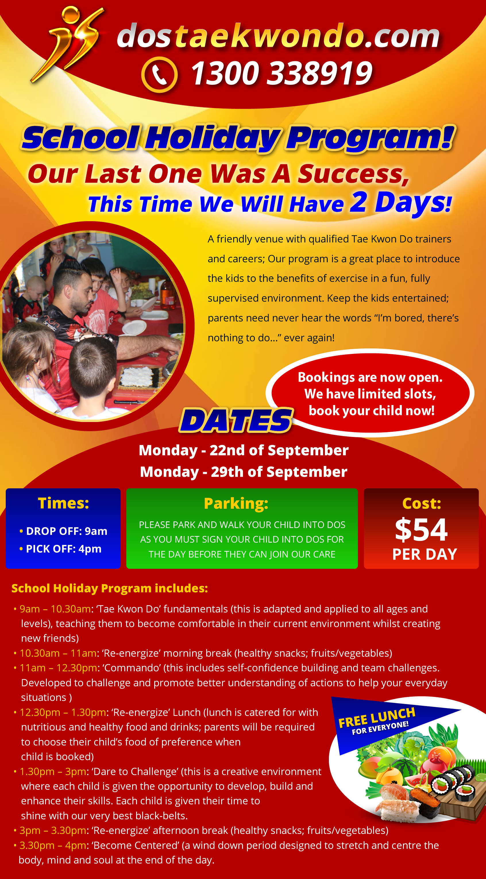 dos taekwondo school holiday program
